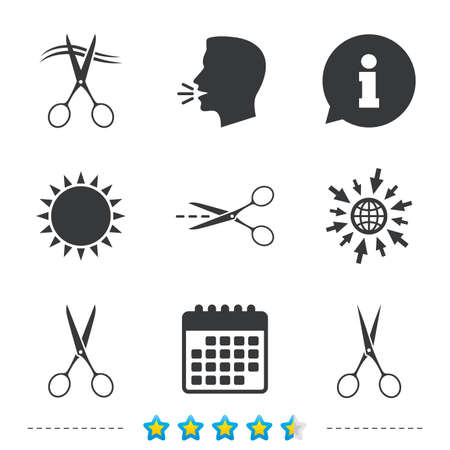 snip: Scissors icons. Hairdresser or barbershop symbol. Scissors cut hair. Cut dash dotted line. Tailor symbol. Information, go to web and calendar icons. Sun and loud speak symbol. Vector