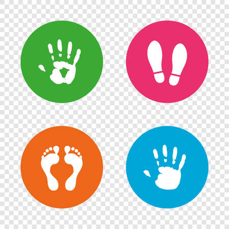 Hand and foot print icons. Imprint shoes and barefoot symbols. Stop do not enter sign. Round buttons on transparent background. Vector