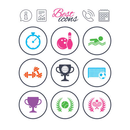Information, report and calendar signs. Sport games, fitness icons. Football, tennis and volleyball signs. Swimming, timer and bowling symbols. Phone call symbol. Classic simple flat web icons. Vector