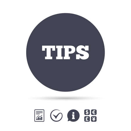 restaurant bill: Tips sign icon. Service money symbol. Report document, information and check tick icons. Currency exchange. Vector.