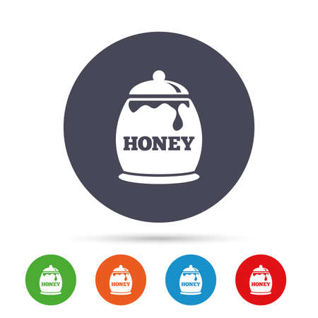 Honey in pot sign icon. Sweet natural food symbol. Round colourful buttons with flat icons. Vector