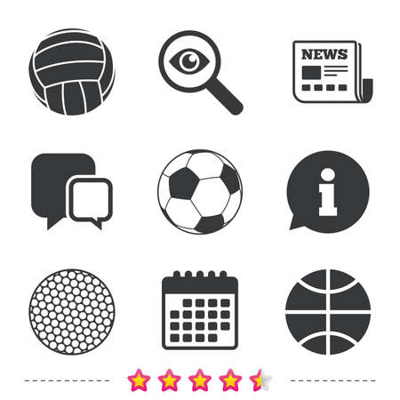 Sport balls icons. Volleyball, Basketball, Soccer and Golf signs. Team sport games. Newspaper, information and calendar icons. Investigate magnifier, chat symbol. Vector.