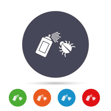Bug disinfection sign icon. Fumigation symbol. Bug sprayer. Round colourful buttons with flat icons. Vector.