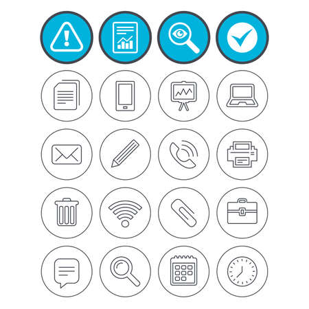 investigating: Report, check tick and attention signs. Office equipment icons. Computer, printer and smartphone. Wi-fi, chat speech bubble and copy documents. Vector