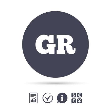 Griekse taal teken pictogram. GR Griekenland vertaalsymbool. Rapporteer document, informatie en vink pictogrammen aan. Wisselkantoor. Vector.