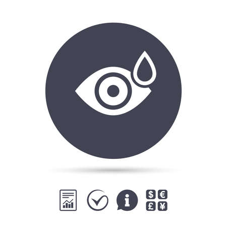 Eye with water drop sign icon. Drip into the eyes symbol. Report document, information and check tick icons. Currency exchange. Vector 版權商用圖片 - 80344669