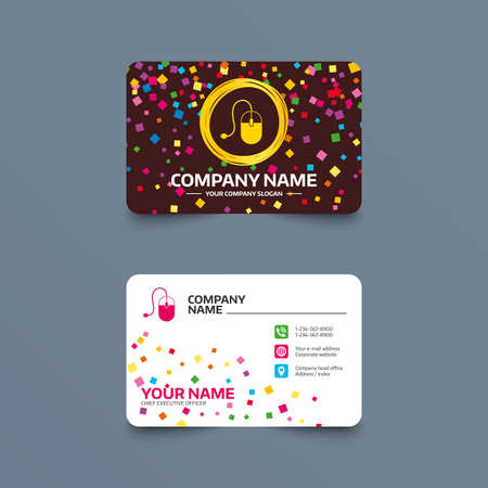 Business card template with confetti pieces. Computer mouse sign icon. Optical with wheel symbol. Phone, web and location icons. Visiting card  Vector.