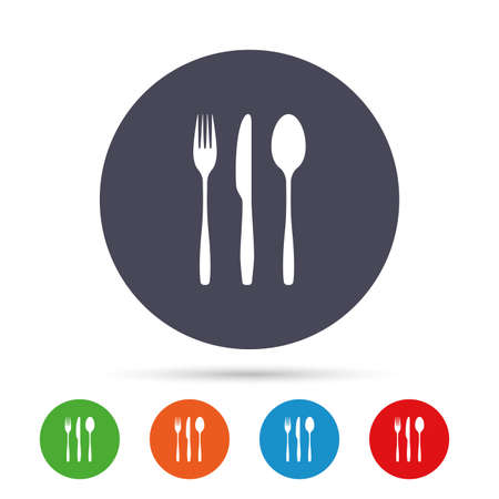 Fork, knife, tablespoon sign icon. Cutlery collection set symbol. Round colourful buttons with flat icons. Vector. Illustration