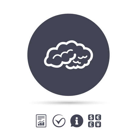 Brain sign icon. Human intelligent smart mind. Report document, information and check tick icons. Currency exchange. Vector.