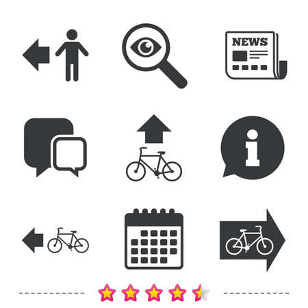 Pedestrian road icon. Bicycle path trail sign. Cycle path. Arrow symbol. Newspaper, information and calendar icons. Investigate magnifier, chat symbol. Vector Çizim