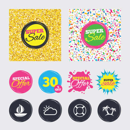 Gold glitter and confetti backgrounds. Covers, posters and flyers design. Travel icons. Sail boat with lifebuoy symbols. Cloud with sun weather sign. Palm tree. Sale banners. Special offer splash.