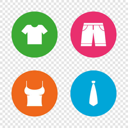 Clothes icons. T-shirt and bermuda shorts signs. Business tie symbol. Round buttons on transparent background. Vector Illustration
