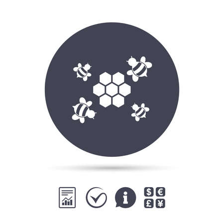 Honeycomb with bees sign icon. Honey cells symbol. Sweet natural food. Report document, information and check tick icons. Currency exchange. Vector. Ilustração