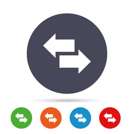 Incoming and outgoing calls sign. Upload. Download arrow symbol. Round colourful buttons with flat icons. Vector.