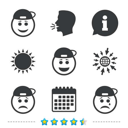 Rapper smile face icons. Happy, sad, cry signs. Happy smiley chat symbol. Sadness depression and crying signs. Information, go to web and calendar icons. Sun and loud speak symbol. Vector.