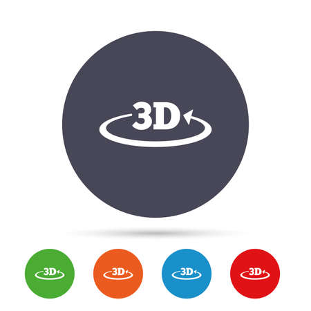 3D sign icon. 3D New technology symbol. Rotation arrow. Round colourful buttons with flat icons. Vector.