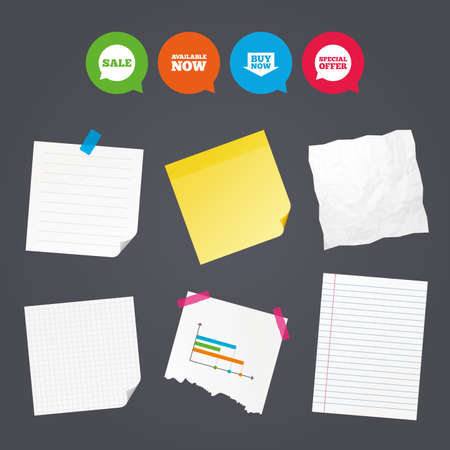 Business paper banners with notes. Sale icons. Special offer speech bubbles symbols. Buy now arrow shopping signs. Available now. Sticky colorful tape. Speech bubbles with icons. Vector