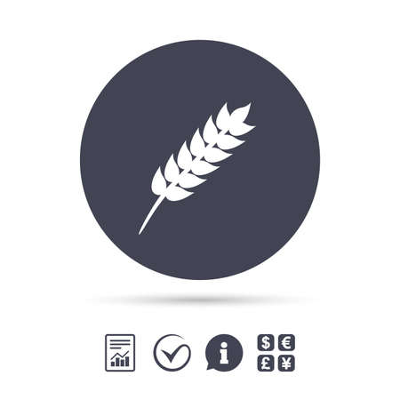 Gluten free sign icon. No gluten symbol. Report document, information and check tick icons. Currency exchange. Vector Illustration