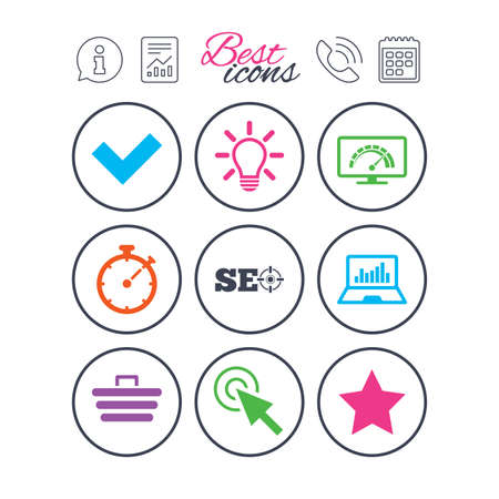 Information, report and calendar signs. Internet, seo icons. Bandwidth speed, online shopping and tick signs. Favorite star, notebook chart symbols. Phone call symbol. Classic simple flat web icons. Ilustração