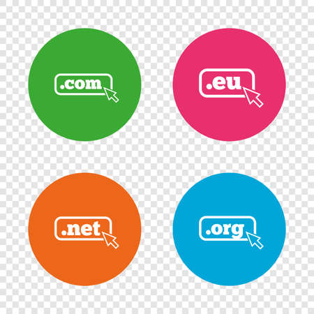 Top-level internet domain icons. Com, Eu, Net and Org symbols with cursor pointer. Unique DNS names. Round buttons on transparent background. Vector. Illustration