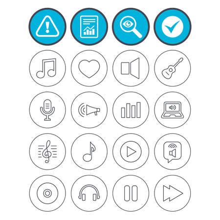 Report, check tick and attention signs. Music icons. Musical note, acoustic guitar and microphone. Notebook, dynamic and headphones symbols. Investigate magnifier symbol. Flat buttons. Vector.