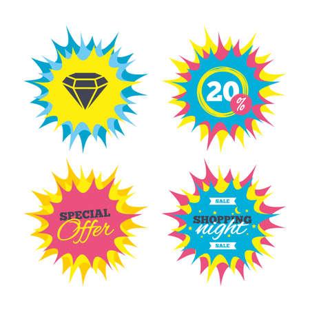 ショッピング提供、特別オファーのバナー。記号、ひし形のアイコン。ジュエリーのシンボル。宝石の石。つ星ラベルを割引します。ベクトル。  イラスト・ベクター素材