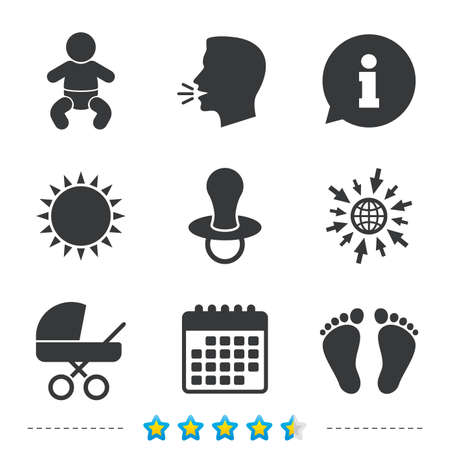 Baby infants icons. Toddler boy with diapers symbol. Buggy and dummy signs. Child pacifier and pram stroller. Child footprint step sign. Information, go to web and calendar icons. Vector.