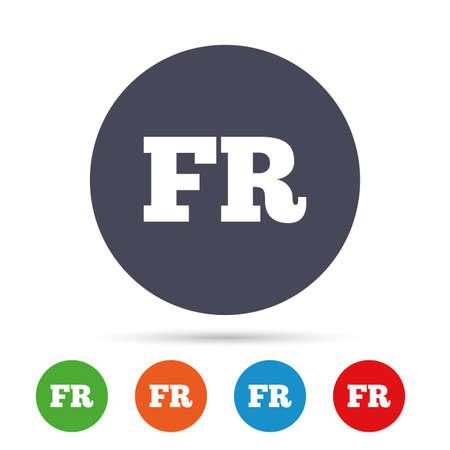 Franse taal teken pictogram. FR Frankrijk vertaalsymbool. Ronde kleurrijke knoppen met plat pictogrammen. Vector. Stock Illustratie