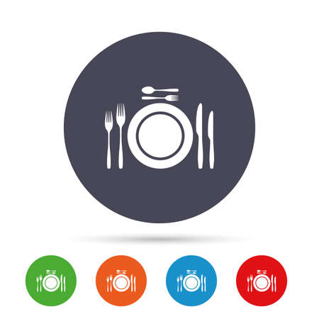 Plate dish with forks and knifes. Dessert trident fork with teaspoon. Eat sign icon. Cutlery etiquette rules symbol. Round colourful buttons with flat icons. Vector. 向量圖像