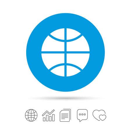 농구 기호 아이콘입니다. 스포츠 기호입니다. 파일 복사, 연설 거품 채팅 및 차트 웹 아이콘. 벡터.