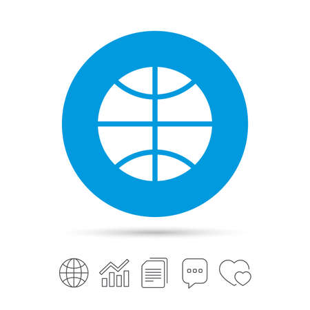 Basketball sign icon. Sport symbol. Copy files, chat speech bubble and chart web icons. Vector. Illustration