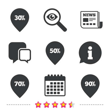Sale pointer tag icons. Discount special offer symbols. 30%, 50%, 70% and 90% percent discount signs. Newspaper, information and calendar icons. Investigate magnifier, chat symbol. Vector.