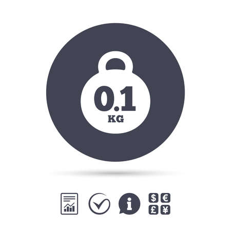 Weight sign icon. 0.1 kilogram (kg). Envelope mail weight. Report document, information and check tick icons. Currency exchange. Vector. Illustration