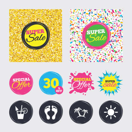 Gold glitter and confetti backgrounds. Covers, posters and flyers design. Beach holidays icons. Cocktail, human footprints and palm trees signs. Summer sun symbol. Sale banners. Special offer splash. 向量圖像