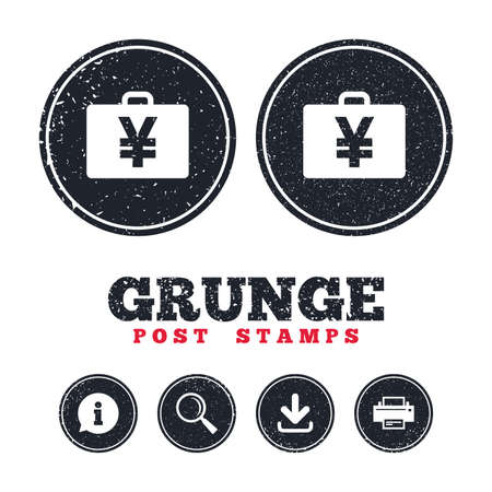 Grunge post stamps. Case with Yen JPY sign icon. Briefcase button. Information, download and printer signs. Aged texture web buttons. Vector.