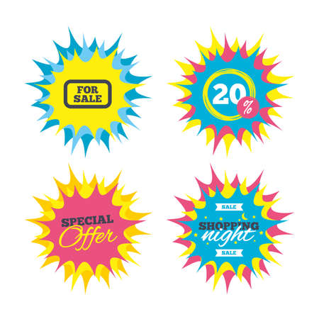 Shopping offers, special offer banners. For sale sign icon. Real estate selling. Discount star label. Vector. Illustration