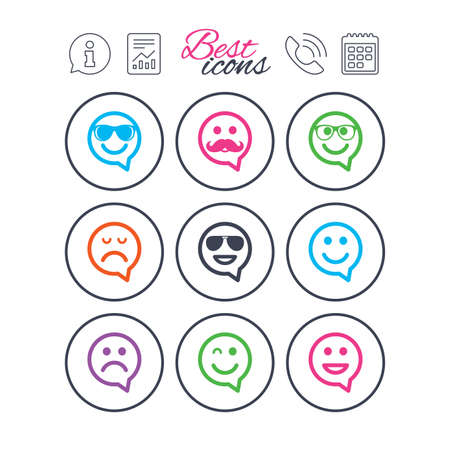 Information, report and calendar signs. Smile speech bubbles icons. Happy, sad and wink faces signs. Sunglasses, mustache and laughing lol smiley symbols. Phone call symbol. Vector.