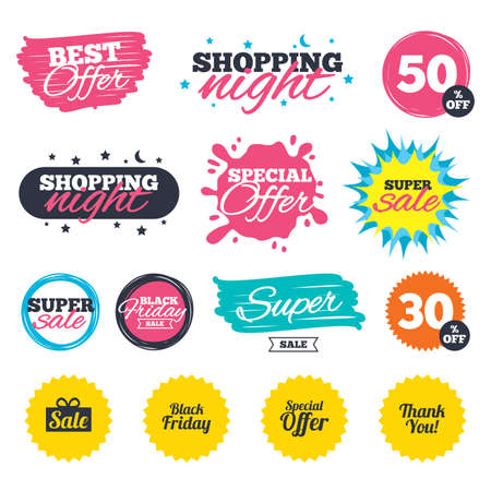 Sale shopping banners. Special offer splash. Sale icons. Special offer and thank you symbols. Gift box sign. Web badges and stickers. Best offer. Vector. Illustration
