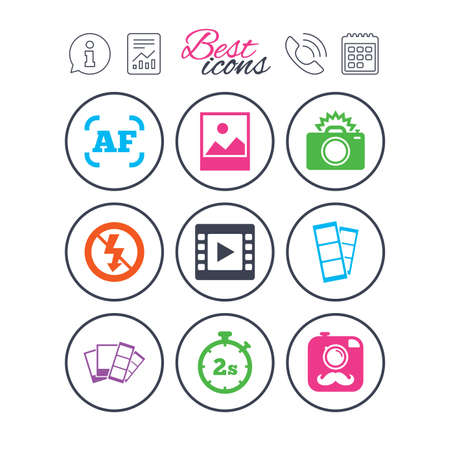 Information, report and calendar signs. Photo, video icons. Camera, photos and frame signs. No flash, timer and strips symbols. Phone call symbol. Classic simple flat web icons. Vector.