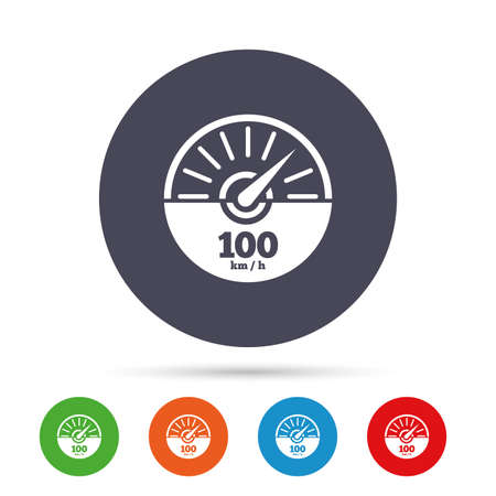 Tachometer sign icon. 100 km per hour revolution-counter symbol. Car speedometer performance. Round colourful buttons with flat icons. Vector. Illustration