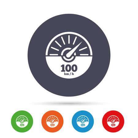 Toerenteller teken pictogram. 100 km per uur omwentelings-tellersymbool. Auto snelheidsmeter prestaties. Ronde kleurrijke knoppen met plat pictogrammen. Vector. Stockfoto - 80344149