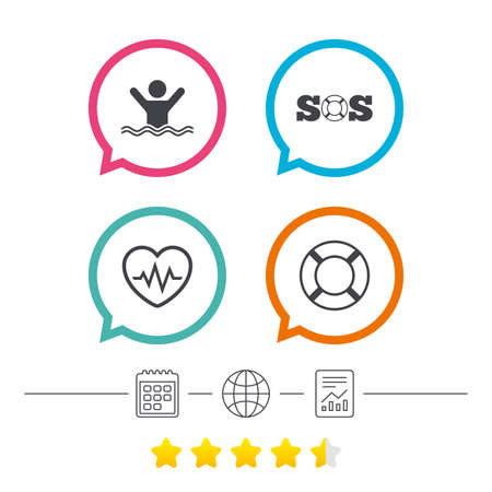 SOS lifebuoy icon. Heartbeat cardiogram symbol. Swimming sign. Man drowns. Calendar, internet globe and report linear icons. Star vote ranking. Vector.