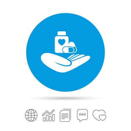 의료 보험 기호 아이콘입니다. 건강 보험. 알 약 병 기호입니다. 파일 복사, 연설 거품 채팅 및 차트 웹 아이콘. 벡터