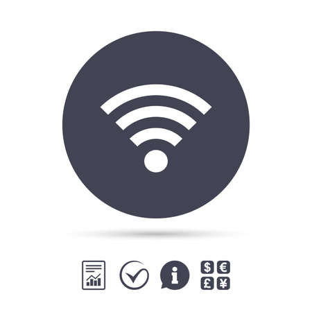 wifi access: Wifi sign. Wi-fi symbol. Wireless Network icon. Wifi zone. Report document, information and check tick icons. Currency exchange. Vector. Illustration