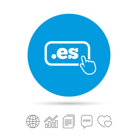 Domain ES sign icon. Top-level internet domain symbol with hand pointer. Copy files, chat speech bubble and chart web icons. Vector. Ilustração