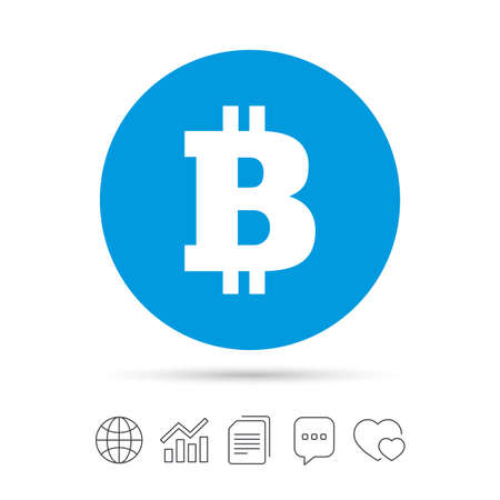 Bitcoin sign icon. Cryptography currency symbol. P2P. Copy files, chat speech bubble and chart web icons. Vector.