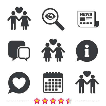 Couple love icon. Lesbian and Gay lovers signs. Romantic homosexual relationships. Speech bubble with heart symbol. Newspaper, information and calendar icons. Investigate magnifier, chat symbol