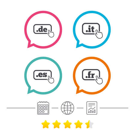 Top-level internet domein pictogrammen. De, It, Es en Fr symbolen met handaanwijzer. Unieke nationale DNS-namen. Kalender, internetwereldbol en rapporteer lineaire pictogrammen. Ranglijst met sterren. Vector Stock Illustratie