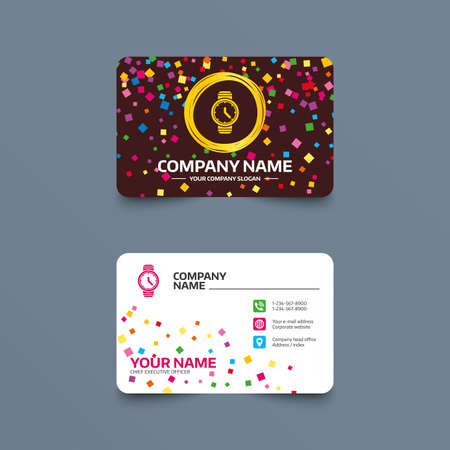 Business card template with confetti pieces. Wrist Watch sign icon. Mechanical clock symbol. Men hand watch. Phone, web and location icons. Visiting card  Vector Illustration