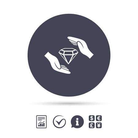 A Jewelry insurance sign icon. Handen beschermen cover diamonds symbool. Brilliants-verzekering. Rapporteer document, informatie en vink pictogrammen aan. Valutawissel Vector. Stock Illustratie